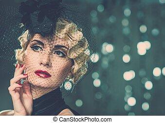 wenig, frau, retro, tragen, hut, blond, schleier, lippenstift, rotes , elegant