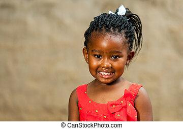 wenig, geflochten, hairstyle., m�dchen, afrikanisch