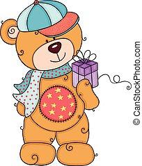 wenig, geschenk, teddy, kappe, bär, besitz, schal