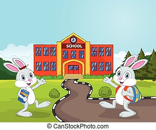 wenig, karikatur, kaninchen, gehen