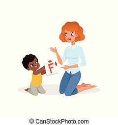 wenig, kind, ausstellung, blitzkarte, mit, buchstabe f, zu, seine, teacher., kinderentwicklung, und, bildung, center., wohnung, vektor, design