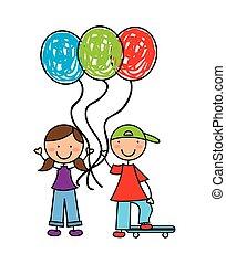 wenig, kinder, mit, luftballone, luft