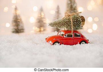 Kinderauto Baum Ansteigen Tragen Weihnachten Kinderauto