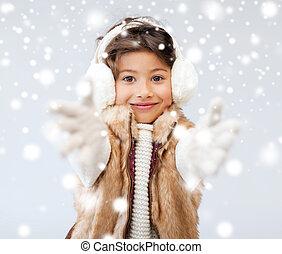 wenig, kleidung, winter, m�dchen, glücklich