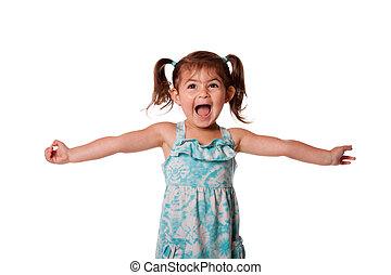 wenig, kleinkind, m�dchen, ekstatisch, glücklich