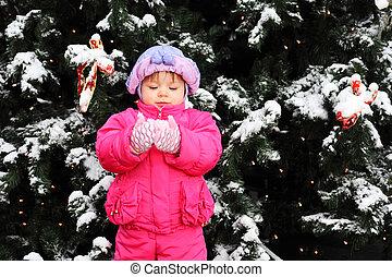 wenig, lächelnden mädchen, angezogene , rosa, jacke, steht, bei, grüner baum, mit, schnee, und, hält, schnee