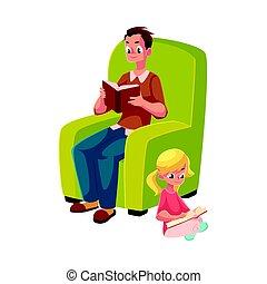 wenig, lesende , sitzen, junger, buecher, gekreuzt, m�dchen, beine, mann