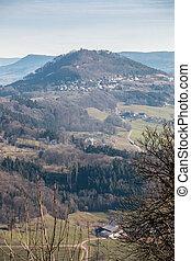 wenig, mitte, landschaft, felder, hügel, deutsch, dorf,...