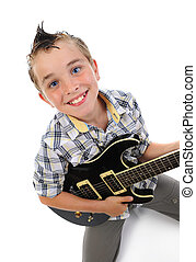 wenig, musiker, spielende gitarre