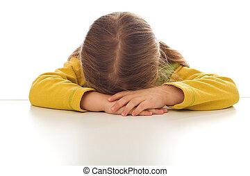 wenig, oder, weinen, m�dchen, traurige , sulking