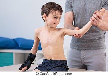 wenig, patient, auf, physiotherapie