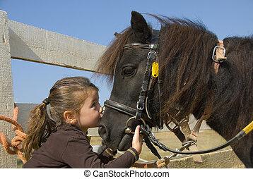 wenig, pony, m�dchen