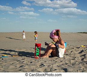wenig, sand, m�dchen, spielende
