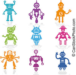 wenig, satz, heiligenbilder, -, roboter, sammlung, vektor,...