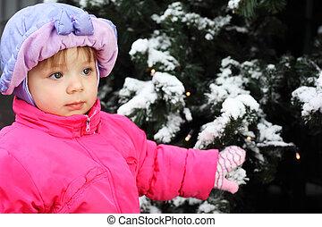 wenig, schöne , m�dchen, angezogene , rosa, jacke, steht, bei, grüner baum, mit, schnee