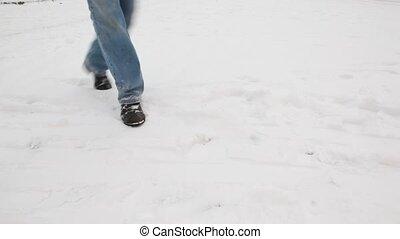wenig, schnee- schlitten, tragen, mädchen lächeln, mann
