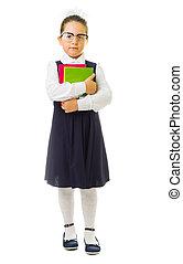 wenig, schoolgirl, mit, buecher
