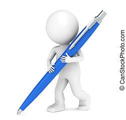 wenig, schreibende, pen., zeichen, menschliche , 3d