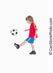 wenig, seitenansicht, fußball, junge, treten