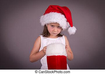 wenig, sie, disapointed, m�dchen, weihnachts strumpf