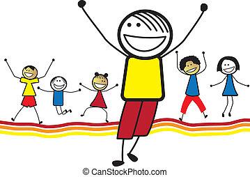 wenig, spielende , zusammen., tanzen, kleinkinder, glücklich, ander, abbildung, shows, company., children(kids)jumping, grafik, lächeln, &, genießen, jedes