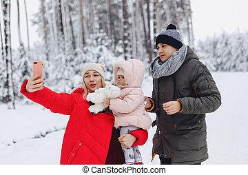 wenig, töchterchen, sie, familie, selfie, glücklich