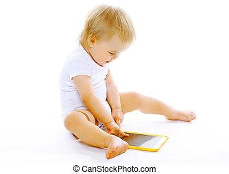 wenig, tablette pc, hintergrund, baby, weißes