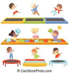 wenig, vektor, trampoline, glücklich, reizend, spielplatz, würfel, spaß, spielende , springen, kind, haben, aktive, abbildung, teich, sammlung, weich, trampolining, knaben, freizeit, mädels, kinder