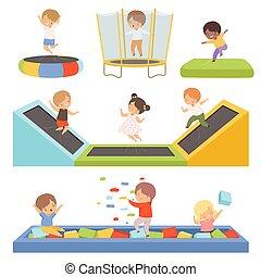 wenig, vektor, trampoline, glücklich, reizend, spielplatz, würfel, spaß, spielende , springen, kind, haben, aktive, abbildung, teich, sammlung, trampolining, knaben, freizeit, mädels, kinder