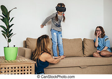 wenig, virtuell, m�dchen, kind spielen, brille, wirklichkeit, spiel