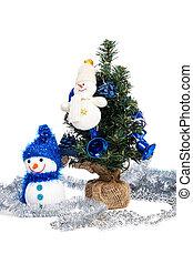 wenig, weihnachtsbaum, dekoriert