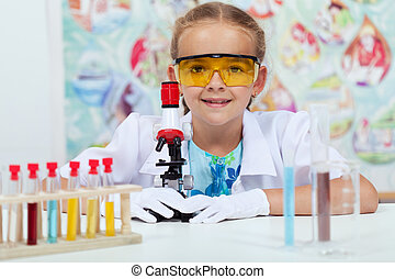 wenig, wissenschaft, experimentieren, elementar, m�dchen, klasse