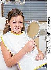 wenig, zahnärzte, besitz, spiegel, stuhl, m�dchen
