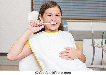 wenig, zahnärzte, zahnbürste, besitz, stuhl, m�dchen