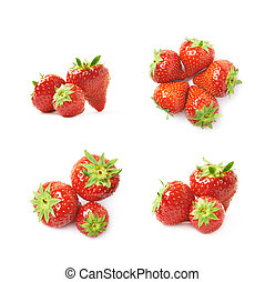 wenige, erdbeeren, haufen , freigestellt