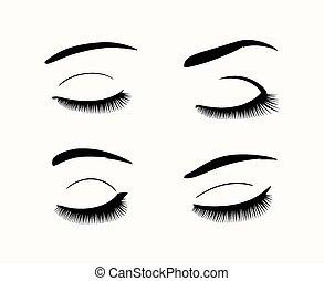 wenkbrauwen, eyelashes, vector, silhouettes