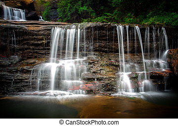 Waterfall fed by the Jamison Creek, near the town of Wentworth Falls in the Blue Mountains Australia. This is part of the upper falls