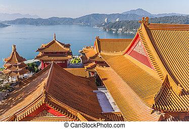wenwu, sol, luna, lago, taiwán, templo