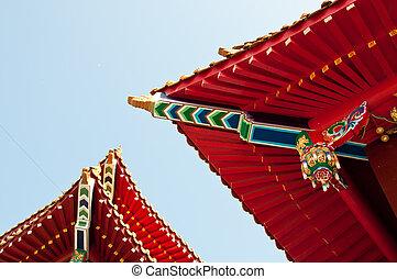 wenwu, tempel, dach, in, sonne, mond, see, taiwan