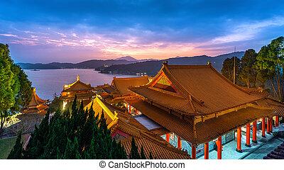Wenwu temple and Sun moon lake at twilight, Taiwan.