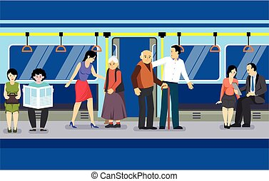 w.EPSCare for elderly in subway transport with young man and woman helping old passengers