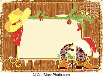 werbewand, rahmen, mit, cowboystiefel, und, santa, roter hut, auf, holz, wall.vector, weihnachten, hintergrund, für, text