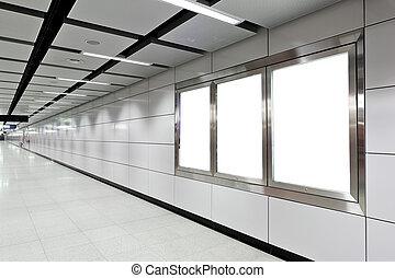 werbewand, station, metro, leer