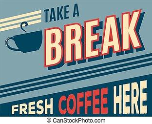 werbung, bohnenkaffee, retro, plakat