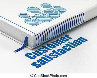 werbung, concept:, buch, geschäftsmenschen, kundenzufriedenheit, weiß, hintergrund