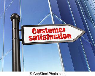 werbung, concept:, kundenzufriedenheit, auf, gebäude
