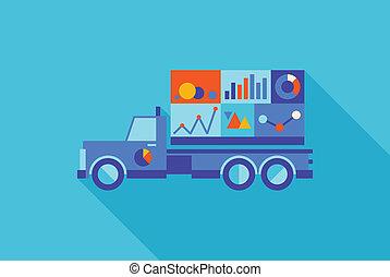 werbung, lastwagen, mit, statistik