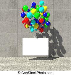 werbung, plakat, hängen, der, luftballone