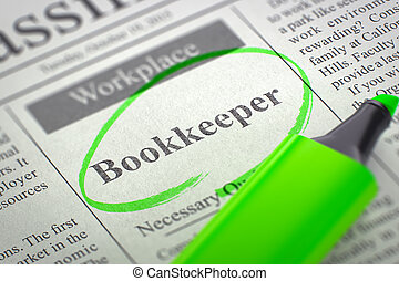 We're Hiring Bookkeeper. 3d.