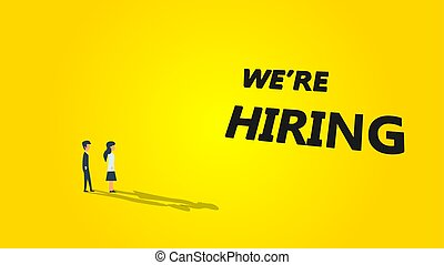We're hiring business vector illustration background. Job career recruitment concept banner work. Text message wanted now team. Opportunity human company vanacy hr candidate join. Promotion poster
